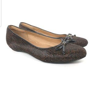 Clarks Womens Alitay Giana Leather Cow Hair Flats-
